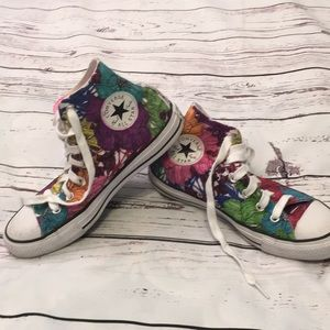 Converse colored-in floral hi-tops